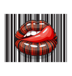 Barcode strip makeup of female mouth with tongue vector
