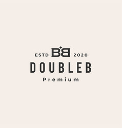 bb double b letter mark hipster vintage logo icon vector image