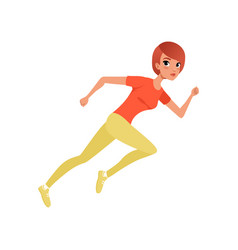 Beautiful athletic woman running sprint cartoon vector