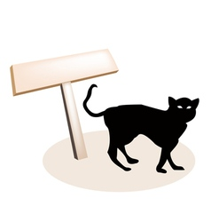 Black cat and wooden placard vector