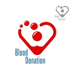 Blood donation symbol with heart made of red drops vector