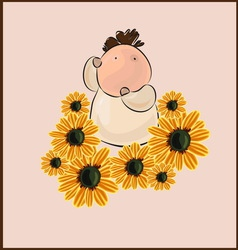 boy with flower camomile vector image