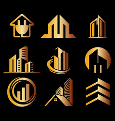 building ico set gold logo vector image