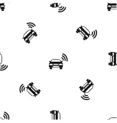 Car with wifi sign pattern seamless black vector