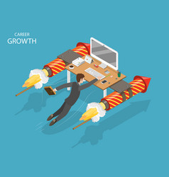 Career growth flat isometric concept vector