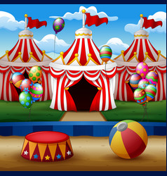 cartoon circus arena with tents background vector image