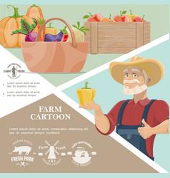 Cartoon farming template vector