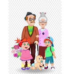 cartoon of grandparents and grandchildren together vector image