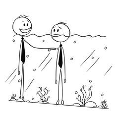 cartoon two businessmen standing in water both vector image