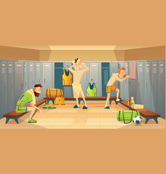 Changing room with football players vector