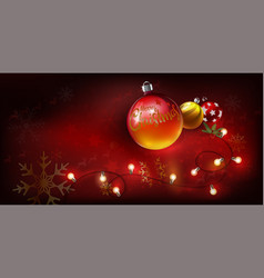 christmas balls with text merry christmas and vector image