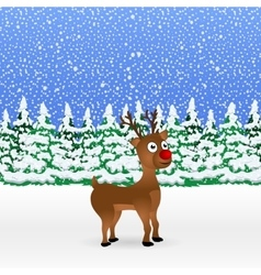 Christmas cartoon reindeer standing vector