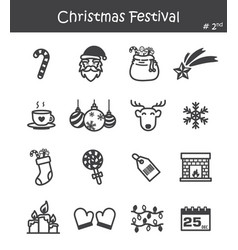 Christmas festival icon set 2 vector