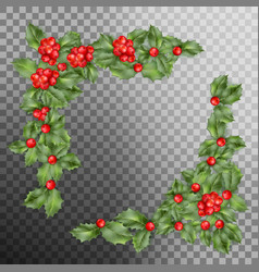 Christmas holly branch corner eps 10 vector