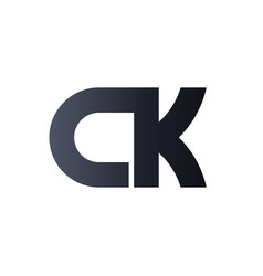 Ck c k black initial letter logo design bold vector