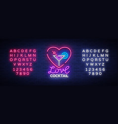 cocktail logo in neon style love cocktail neon vector image