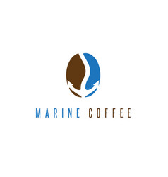 Coffee bean and anchor in it design template vector