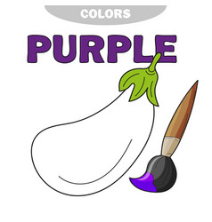 coloring book page for children with eggplant vector image
