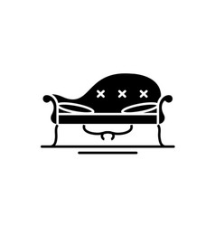 couch black icon sign on isolated vector image