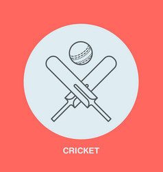 cricket line icon bats and ball logo vector image