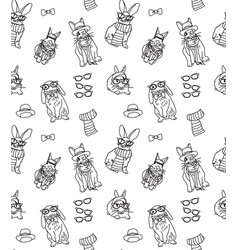 cute fashion hipster rabbits pets black and white vector image