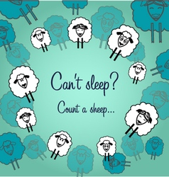 Cute sheeps postcard to night vector image
