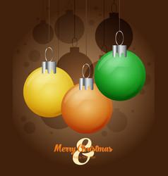 decorative christmas balls christmas card vector image vector image