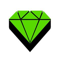 diamond sign green 3d icon vector image
