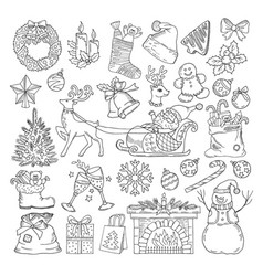 different winter holidays objects christmas party vector image