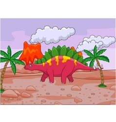 dinosaur cartoon and volcano vector image