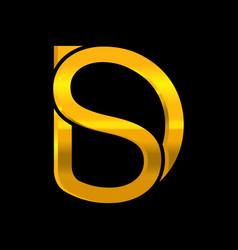 ds letter gold gradient logo design vector image