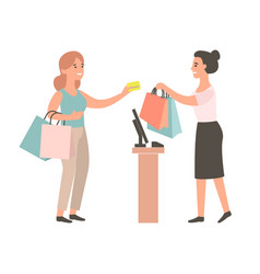 Female cashier gives purchase to buyer vector
