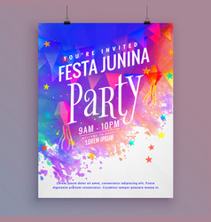 festa junina party flyer template design vector image