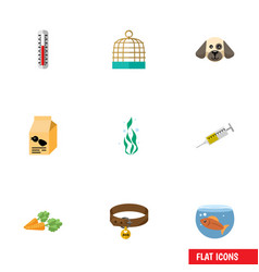Flat icon animal set of temperature measurement vector