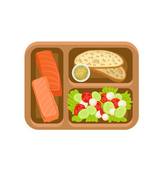 flat icon of brown tray with tasty food vector image