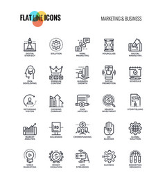 flat line icons design-marketing and business vector image