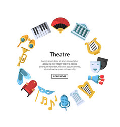 flat theatre icons in circle vector image