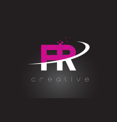 fr f r creative letters design with white pink vector image