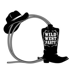 frame from rope with cowboy boots and hat vector image