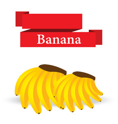 Fresh banana on white background vector