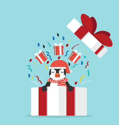 Funny penguin with gift box vector