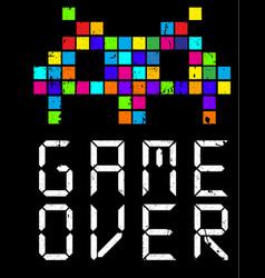 Game over cartoon slogan vector