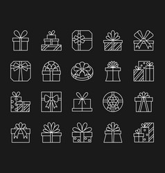 gift simple white line icons set vector image