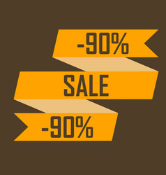 gold ribbon picture discounts for ninety percent vector image vector image