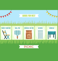 Goods for outdoor leisure flat web banner vector