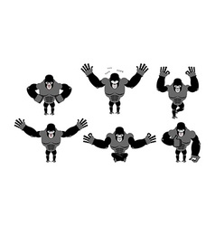 Gorilla set poses Expression of Emotions monkey vector image