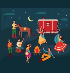 Gypsy people dancing in night cartoon men and vector