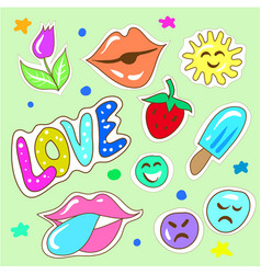Hand drawn childish fashion stickers vector