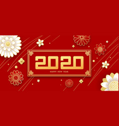 happy chinese new year number 2020 greeting card vector image