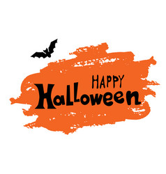 happy halloween text banner with bat on orange vector image